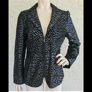 Pamela McCoy Leather Animal Print Jacket